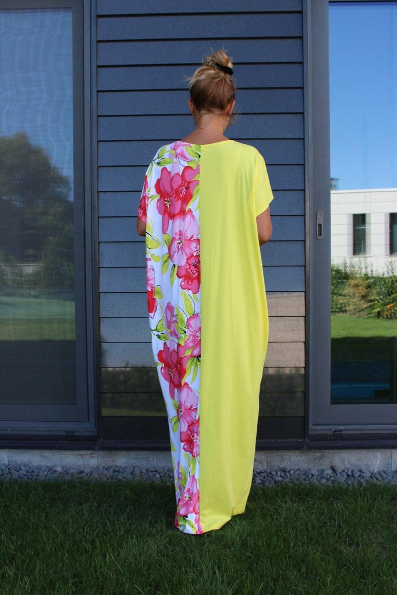 Oversize Dress Long Dress Kaftan Dress Beach Kaftan Dress Women Floral Dress Beach Dress Plus Size Clothing Flower Dress Loose Dress