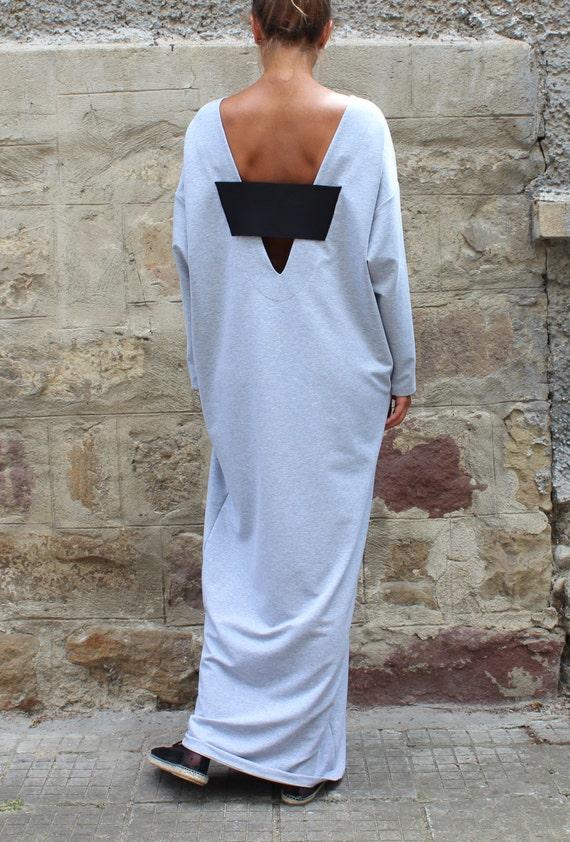 maxi Dress 134 Backless back Dress extravagant Dress Grey dress 110 dress Caftan sleeve Dress Maxi Long Oversized Open maxi Grey wIFxCPqU1n