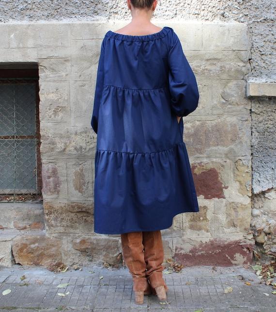 Off dress Long sleeve shoulder Midi dress Maxi Blue dress the dress Party dress Dress dress Denim twTPYY