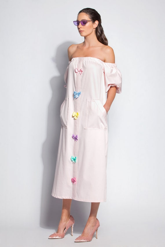 Pink dress/ Summer dress/ Dress/ Dresses for women/ Dress women/ Midi dress/ off shoulder dress/ bow dress/ plus size dress/ 135.317