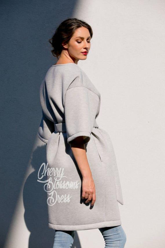 coat Coat Belted Spring Neoprene 116 Woman Coat Coat 186 Manto coat collarless trench coat coat Grey Oversized cocoon coat coat 0BaEBAY