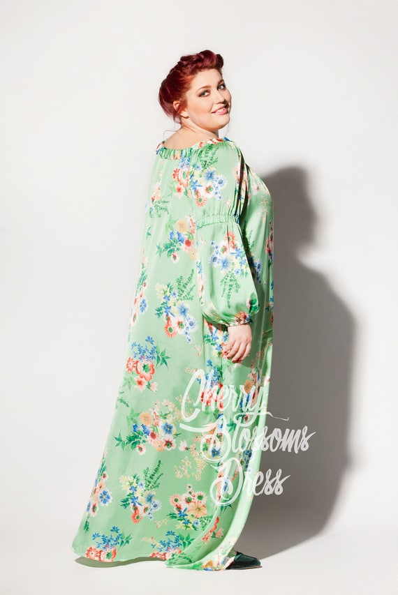Floral dress Plus dress Maxi Plus size clothing Long dress size Day sleeve Boho dress Long Plus size Maxi dress sleeve dress Green dress 6qgwU4