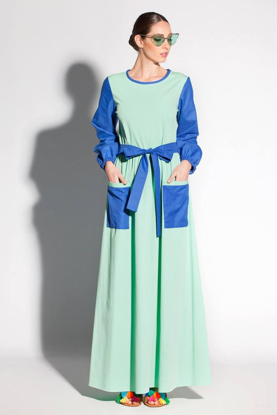 Long Royal Sleeve with Size A Color Blue 132 Dress Plus Two 028 and Dress Front Pockets Conservative Maxi Dress Mint Line 56q4Onxw
