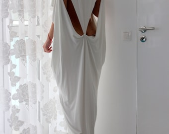 White dress, White kaftan, backless dress, Maxi dress, Caftan, Abaya, Summer maxi dress, Cover up dress, extravagant dress, 133.143