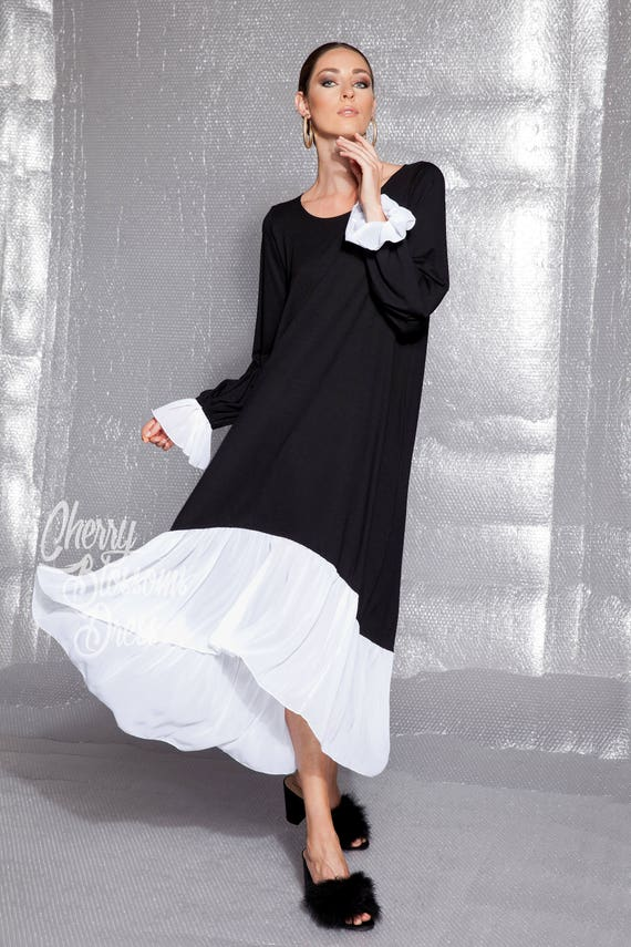 Elegant Black And White Plus Size Dress 022170 Etsy