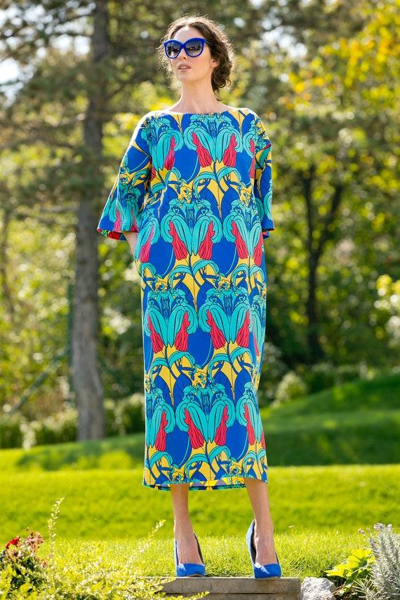 maxi Cotton dress gown Blue dressing Blue Plus Dress kimono Summer 054 size gown 207 dress dress dress dressing dress Blue nFvSx
