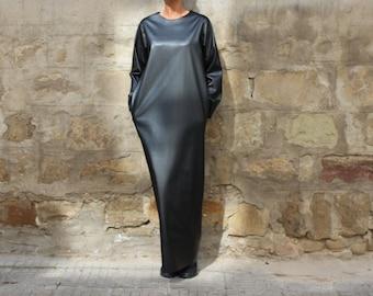 Leather dress, Long Black Dress, Maxi dress, Column dress, Plus size dress, Winter dress, Spring dress, Party dress, Long sleeves dress
