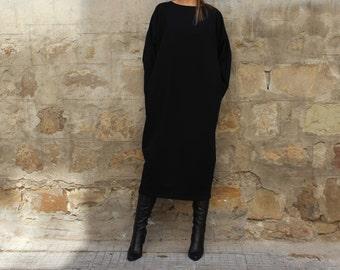 Black Maxi dress, Midi dress, Fall Winter dress, Plus size dress, Long sleeve dress, Plus size clothing