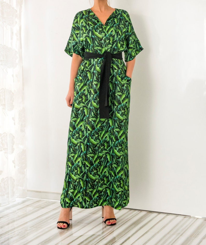 Green Maxi Dress Floral Maxi Dress Belted Dress Plus size | Etsy