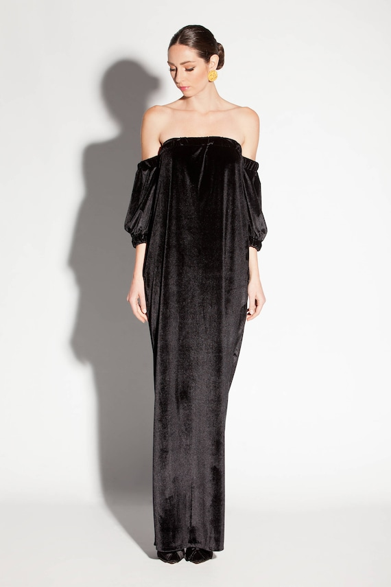 Black Velvet Off Shoulder Long Dress Elegant Evening Gown | Etsy