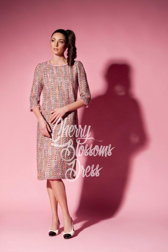 Pink Dress Boucle Dress Midi Dress Mid Length Dress Tea Etsy
