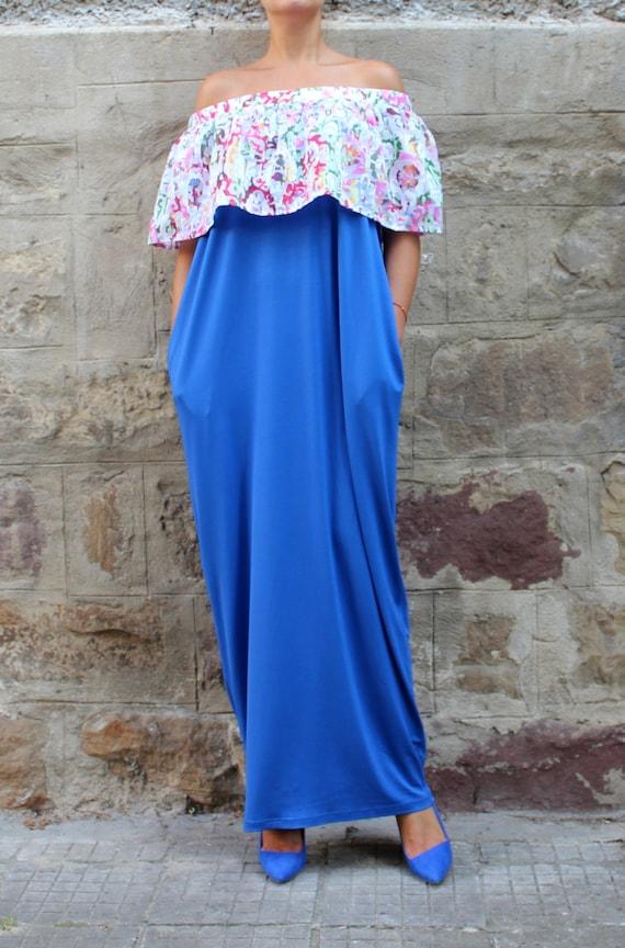 shoulders dress Plus Oversized Caftan Summer Dress Dress dress Maxi dress 061 size Off Ruffle Dress Blue 106 Dress Dress Casual YYzxvwP