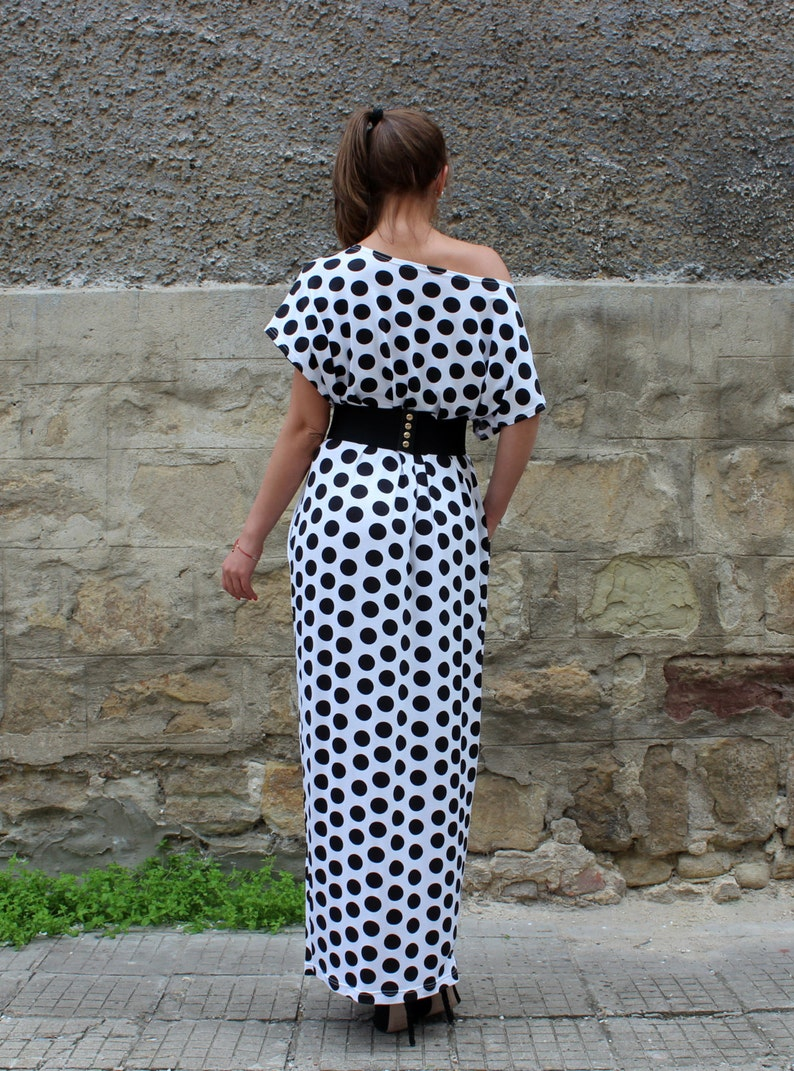 Elegant Summer Dress Loose Dress Women Maxi Dress Black and White Dress Women Kaftan Dress Polka Dot Dress Plus Size Clothing