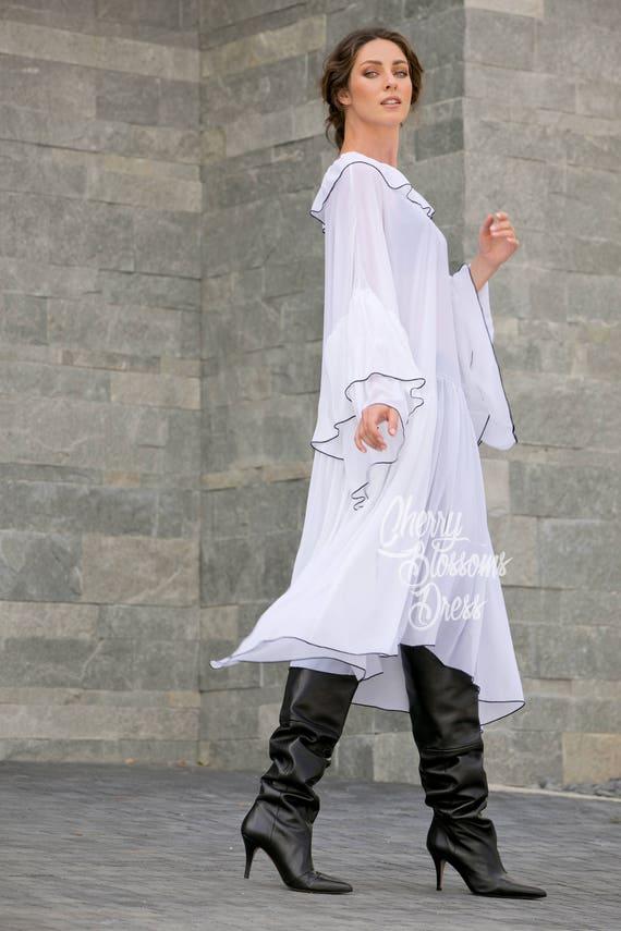 maxi White for maxi Plus Ruffle Chiffon clothing 112 Maxi dress size dress Tunics dress dress women Plus dress dress 195 size Elegant vBqvr7w