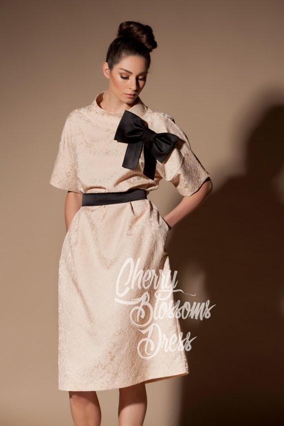 Pale Pink Dress Lace Dress Midi Dressmid Length Dress Etsy
