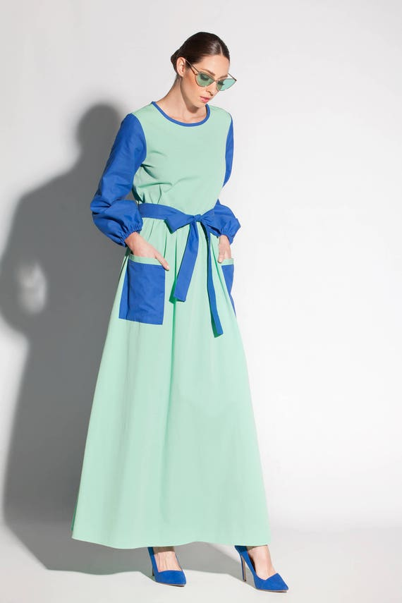 Mint and Royal Blue A Line Dress, Two Color Plus Size Maxi Dress,  Conservative Long Sleeve Dress with Front Pockets, 028.132