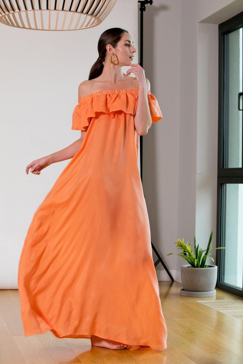 aaa0a9ac060 Peach dress Maxi dress Ruffle dress Summer dress off