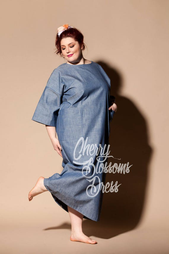 Kaftan size Plus 249 clothing Plus Plus size Plus dress size dress dress size size Long Denim summer 054 Plus dress Plus size Robe cotton vHg88w