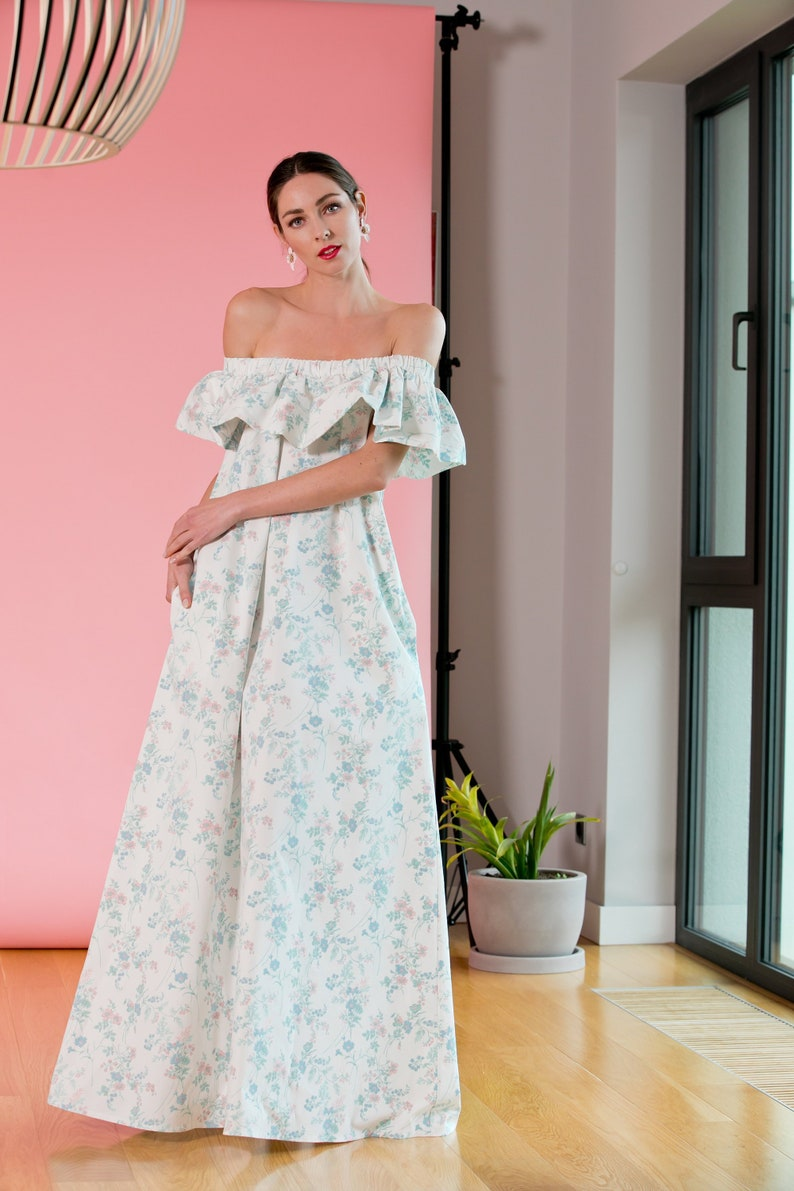 ab4ca47e95d8 Easter Floral Summer Boho Dress Long Bohemian Maxi dress with
