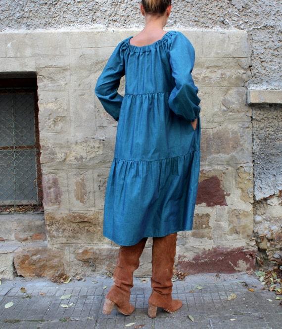 Green dress dress Boho Long sleeve dress Dress Midi Off the dress dress shoulder Maxi Party dress rqrw14xUX