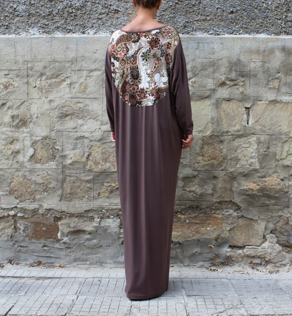 Size Caftan Abaya Dress Dress Clothing Back Party Lace Elegant Maxi Kaftan Size Evening Plus Brown Dress Plus Dress with Long wStpI