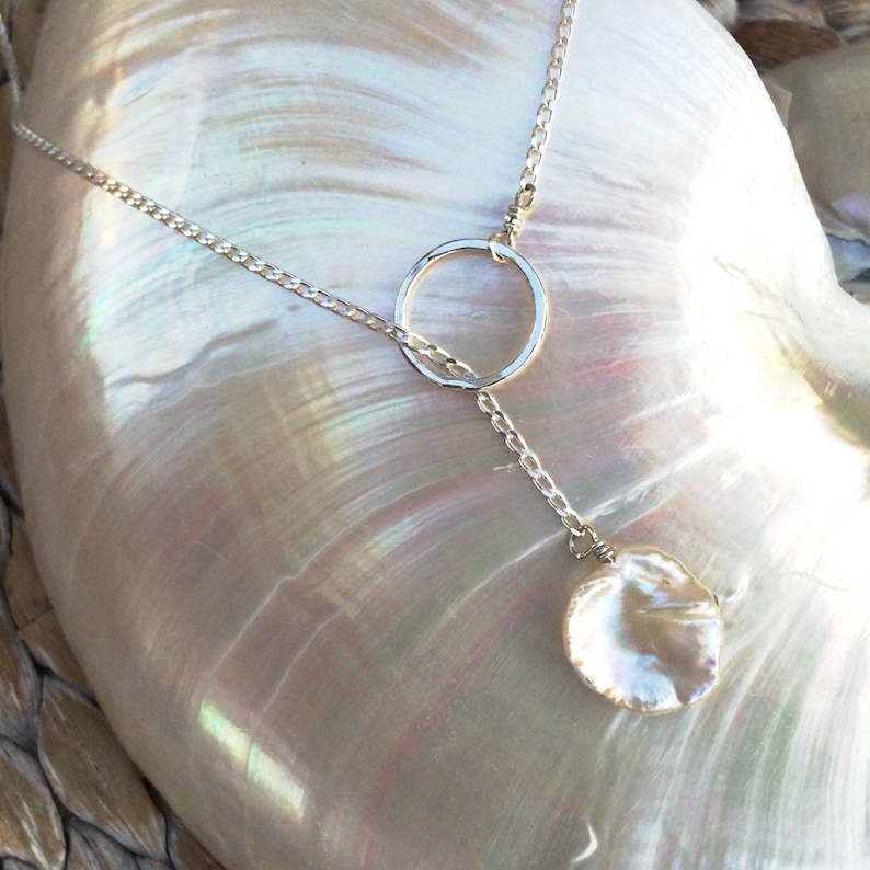 Lariat Style Necklace with Freshwater Pearl image 0