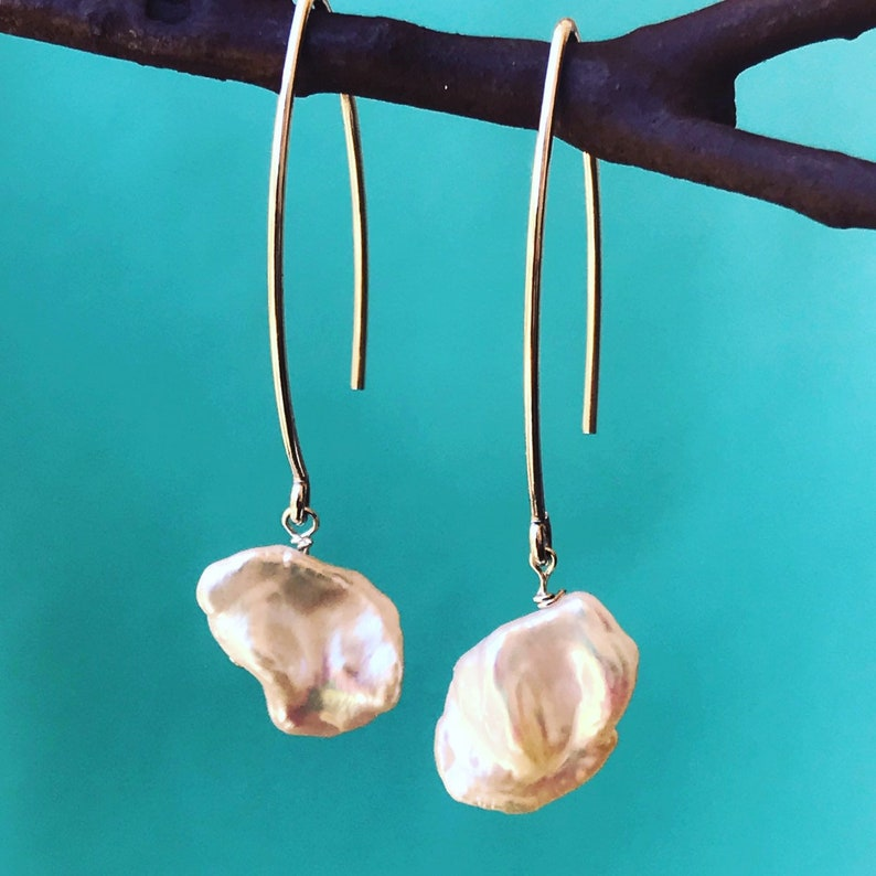 Rare Keishi Pearls on long ear wire image 0