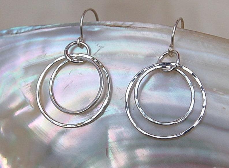 Double Hoops in Fine Silver  Petite image 0