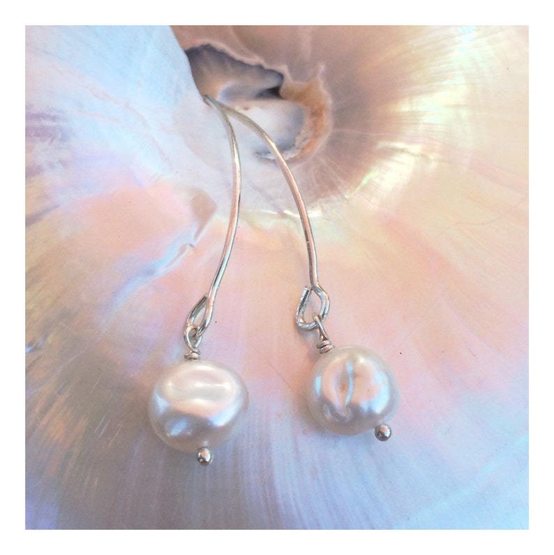Long Sterling Silver Earrings with Freshwater White Coin image 0