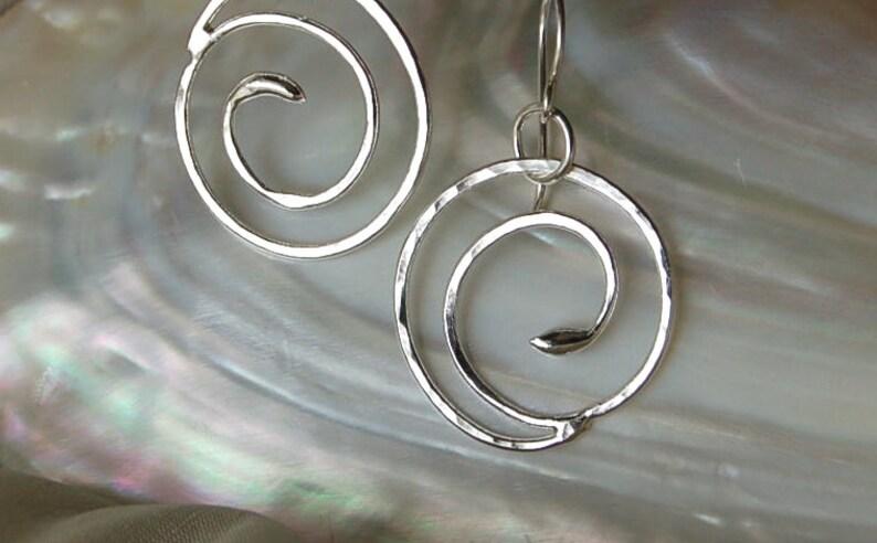 Fine Silver Swirl Earrings image 0