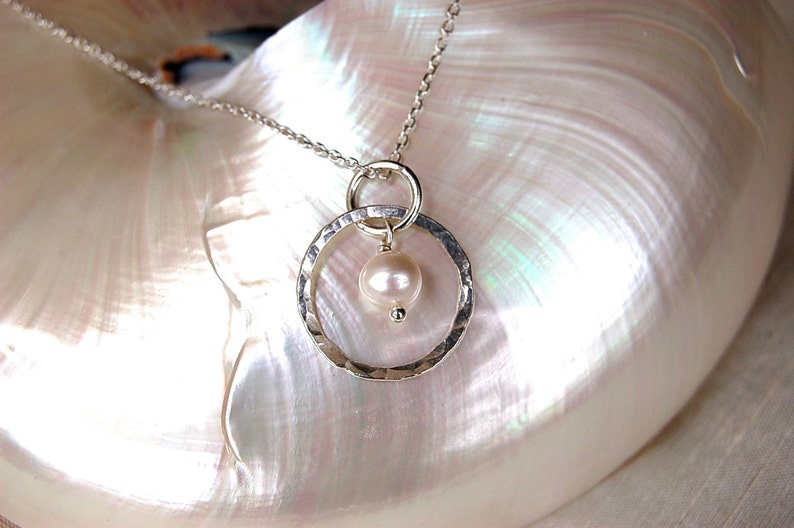 Classic Silver & Pearl Necklace image 0
