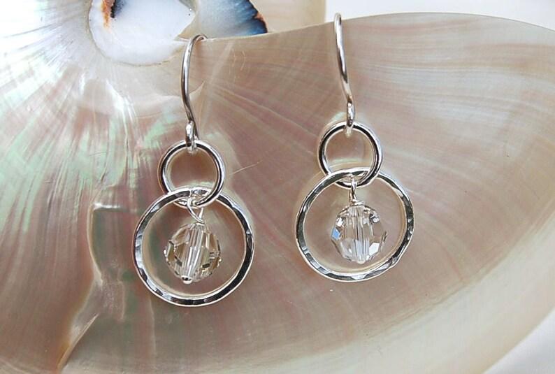 Petite Silver Hoops with Swarovski Crystal image 0