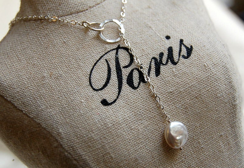 Lariat Style Sterling Silver Necklace with White Pearl image 0