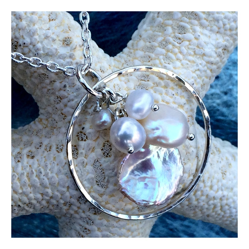 Multi Pearl Necklace on Sterling Silver image 0