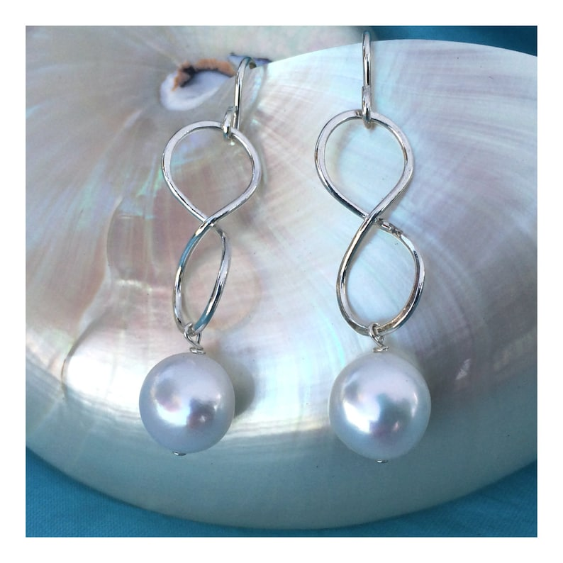 Fine Silver Infinity Earrings with White Pearl image 0