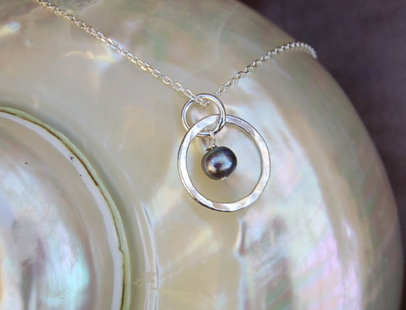 Petite Fine Silver Necklace with Small Black Pearl image 0