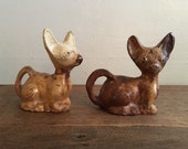 Sewer Tile Pottery Folk Art Dogs Ohio early 1900s Antique End of Day Chihuahuas FREE DOMESTIC SHIPPING