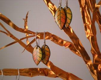 Little FALL LEAF EARRINGS with Sterling Silver  Oranges and Yellow