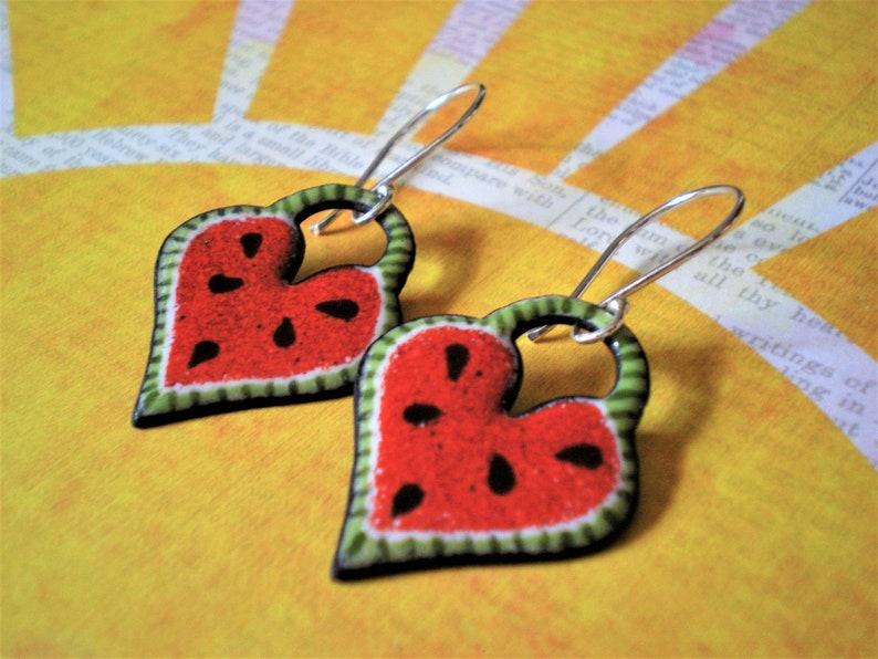 Watermelon Heart enameled drop earrings