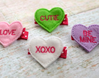 Conversation Heart Hair Clips (Set of 4)