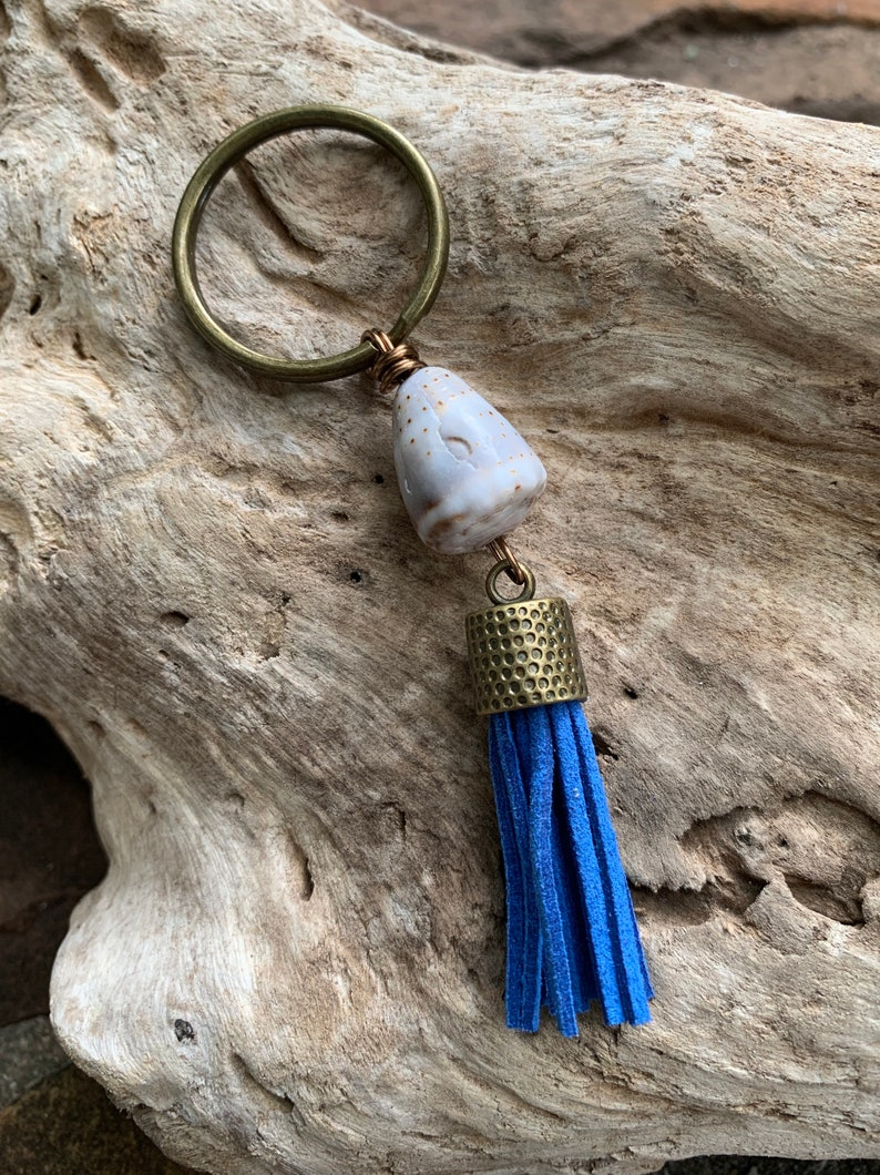 Beachy Cone Shell Tassel Keychain