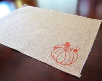 Pumpkin Burlap Placemats  -Ready to Ship