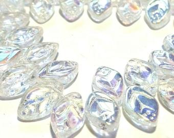 Czech glass Leaf beads x 25 clear Crystal AB, 12x7mm, fire polished