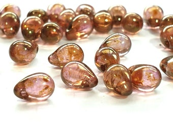 Czech glass - Tear drops x 50, Lustre Rose Gold Topaz, 6x4 mm, Preciosa beads
