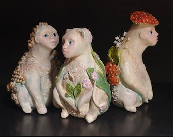 Minchkins - miniature clay art dolls, collectible surreal tiny forest creatures