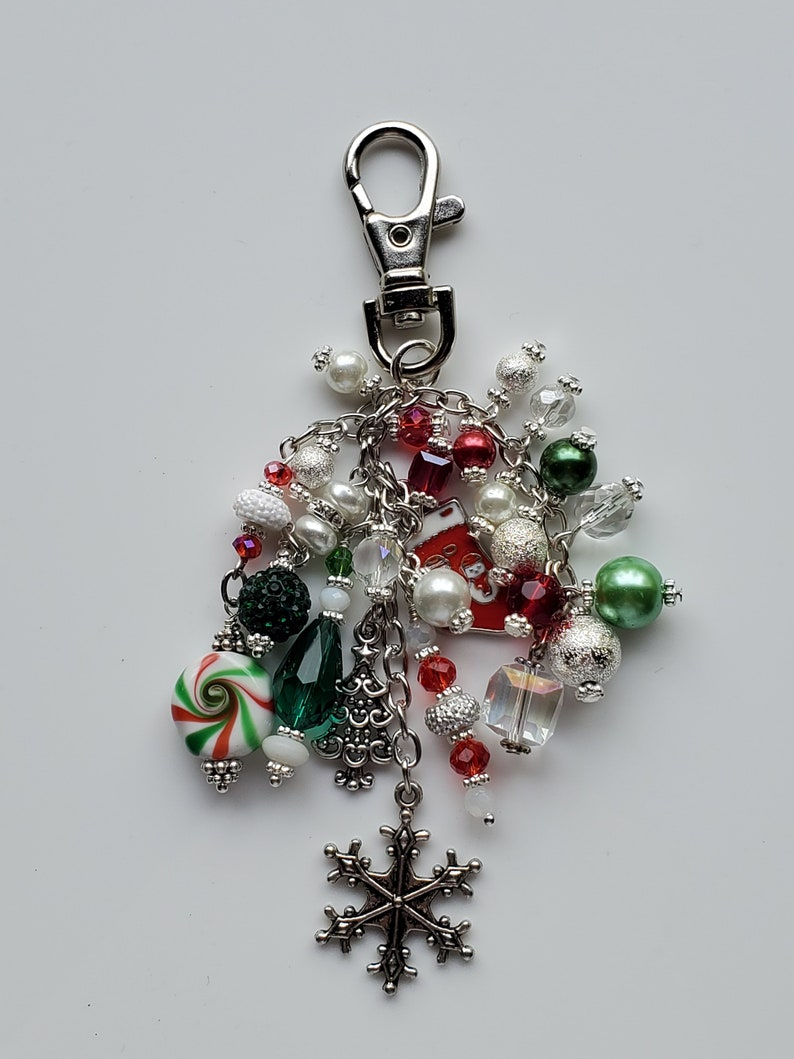 White Green Christmas Charms Red Christmas Red and Green Purse  Backpack  Journal Charm Silver