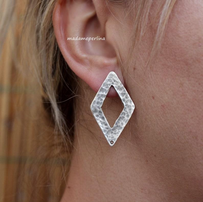 2b56087b4 Earrings post connectors stud ear blank diamond lozenge matte | Etsy