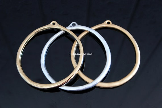 1  Circle Pendant 24K Matte Gold plated Fishes engraved hoop Loop Turkish jewellery findings supply  mdla0208A