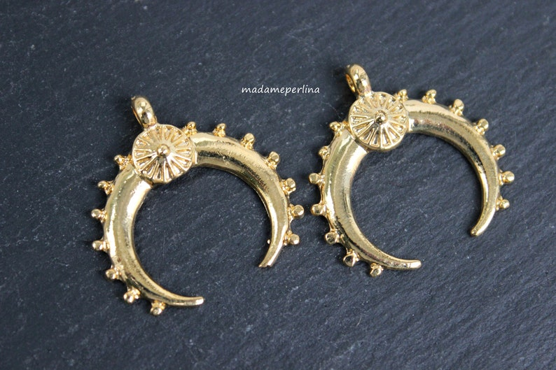 16k Gold plated Brass Half Moon Connector HarperCrown Etsy B112 Double Horn Crescent Moon Charm Pendant