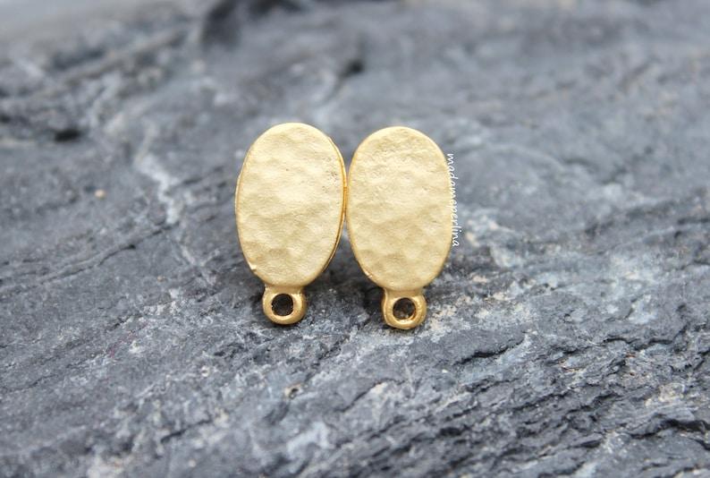 66bdd9d5e PAIR Earrings post connectors ear stud blank setting oval | Etsy